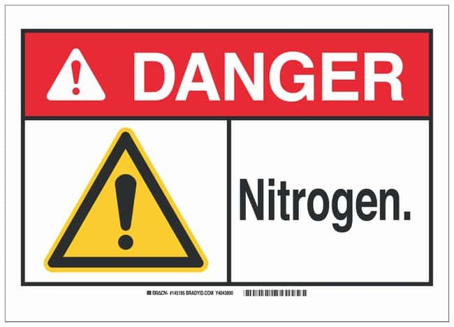 Brady Aluminum Danger Sign: NITROGEN. Black/red/yellow on white; Non-adhesive;