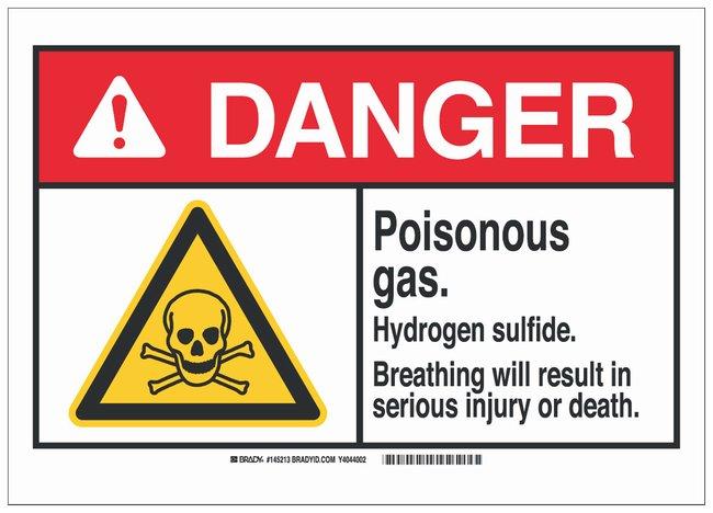 Brady Fiberglass Danger Sign: POISONOUS GAS. HYDROGEN SULFIDE. BREATHING