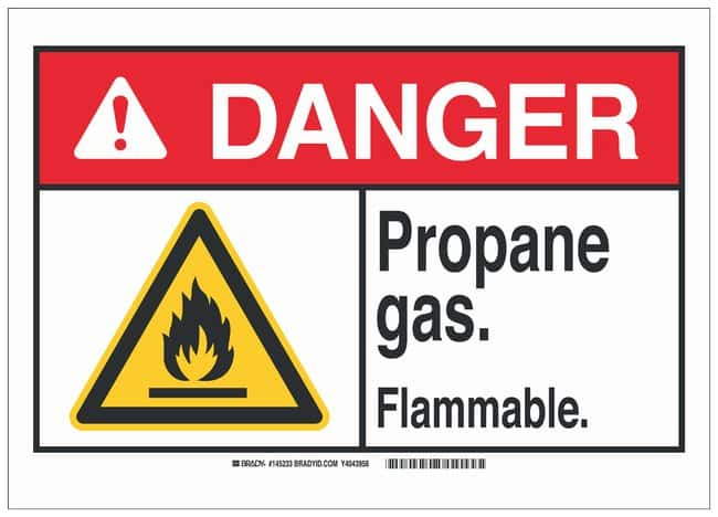 Brady Warning Sign: PROPANE GAS. FLAMMABLE. Black/red/yellow on white;
