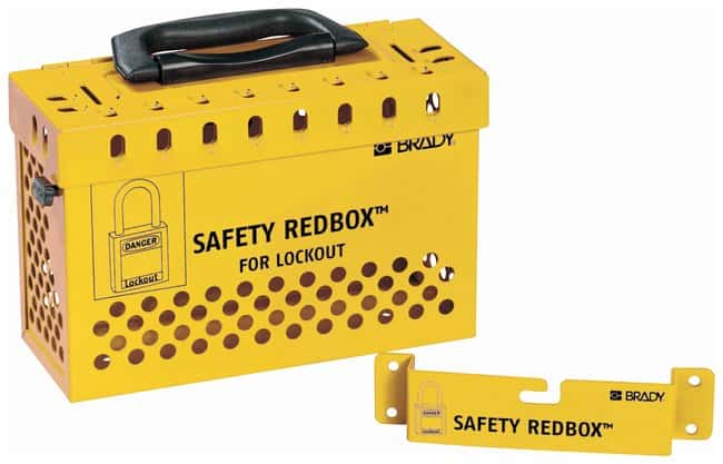 Brady SAFETY REDBOX Lock Box Powder-coated steel; 3.8 in. x 9.5 in. x 6.7