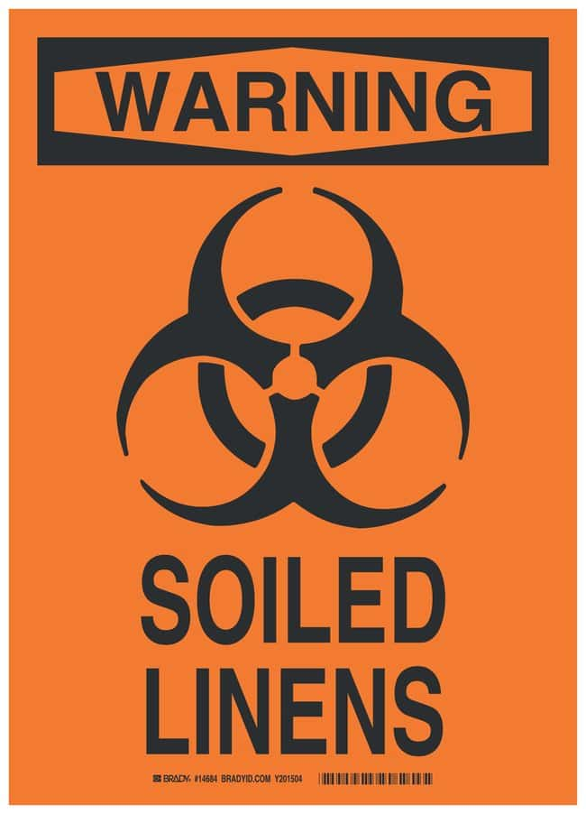 Brady Polystyrene Warning Sign: SOILED LINENS Black on orange; Non-adhesive;