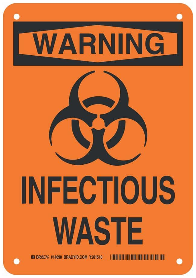Brady Polystyrene Warning Sign: INFECTIOUS WASTE Black on orange; Non-adhesive;