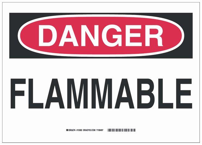 Brady Vinyl Danger Sign: FLAMMABLE Black/red on white; 14 in. x 10 in.