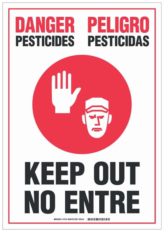 Brady Vinyl Warning Sign: PESTICIDES PESTICIDAS KEEP OUT NO ENTRE Black/red