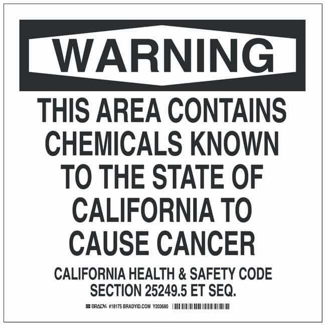 Brady Polyester Danger Sign: THIS AREA CONTAINS CHEMICALS KNOWN TO THE
