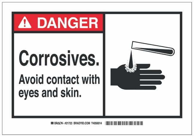 Brady Polystyrene Danger Sign: CORROSIVES. AVOID CONTACT WITH EYES AND