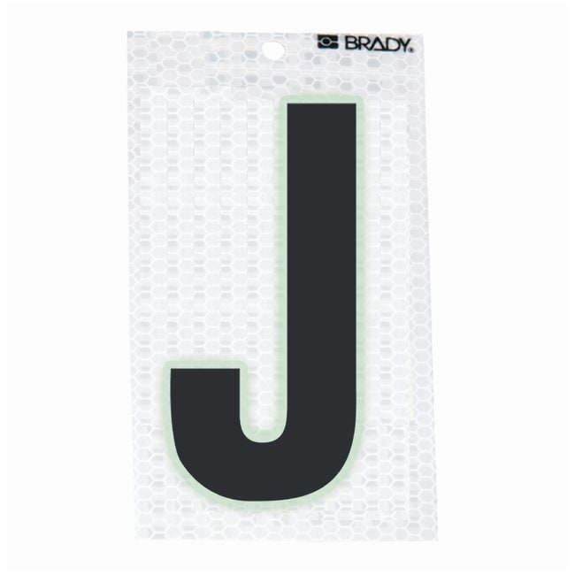 Brady Glow-In-The-Dark/Ultra Reflective Letter: J Character Height: 12.7cm