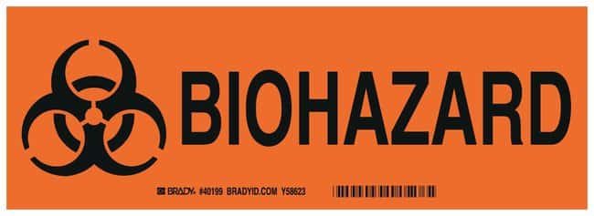 Brady Aluminum Warning Sign: BIOHAZARD Black on orange; Non-adhesive; Corner