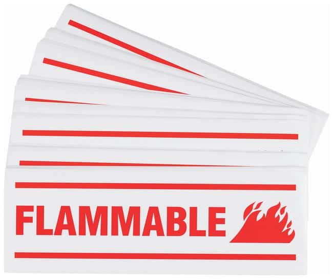 Brady Hazard Warning Sign: FLAMMABLE Red on white; 10 in. x 3.5 in.:Gloves,