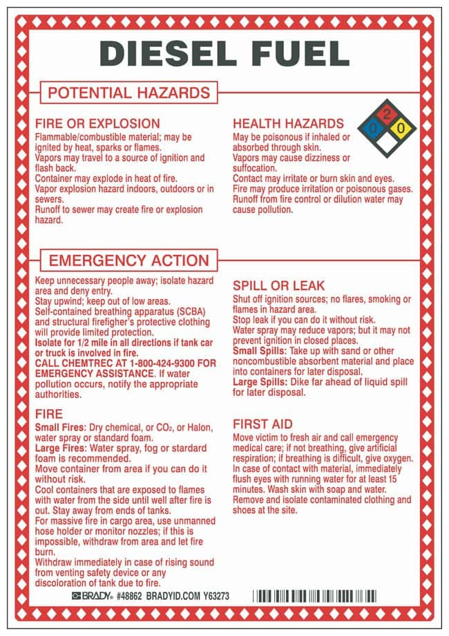 Brady Fiberglass Hazard Sign: DIESEL FUEL POTENTIAL HAZARDS Black/blue/red/yellow