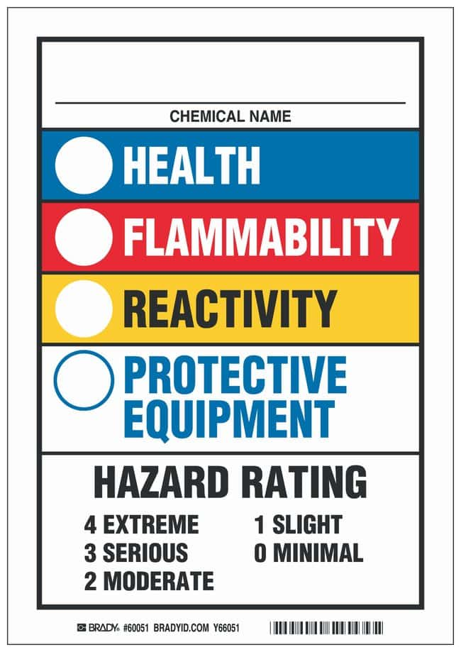 Brady Polyester Warning Sign: CHEMICAL NAME HEALTH FLAMMABILITY REACTIVITY