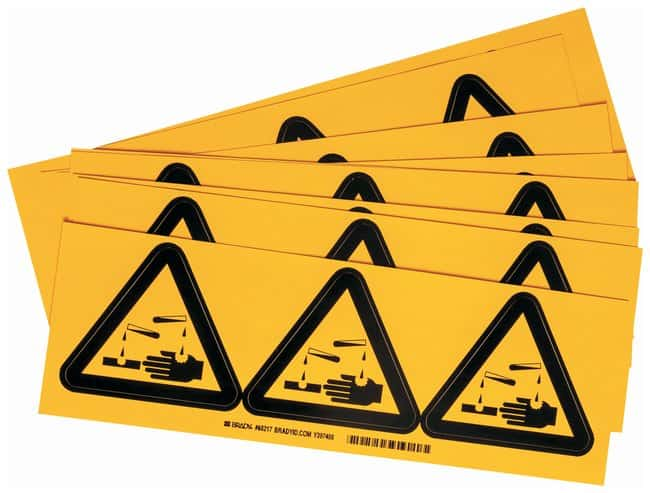 Brady Warning Labels, Pictogram: Acid Size: 2.54W x 2.54cm H (1 x 1 in.):Gloves,