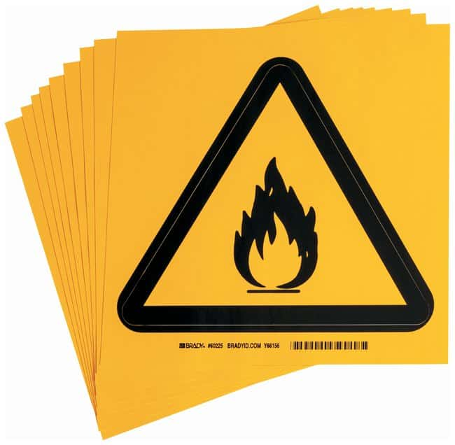 Brady Warning Labels, Pictogram: Flammable Material Size: 20.32W x 20.32cm