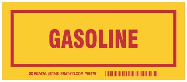 Brady Container Label: GASOLINE Legend: GASOLINE:Gloves, Glasses and Safety