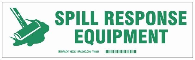 Brady Cabinet Labels: SPILL RESPONSE EQUIPMENT Size: 30.4W x 8.89cm H (12