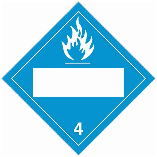 Brady DOT Vehicle Placards: (Flammable Picto w/Blank Box) 4:Gloves, Glasses
