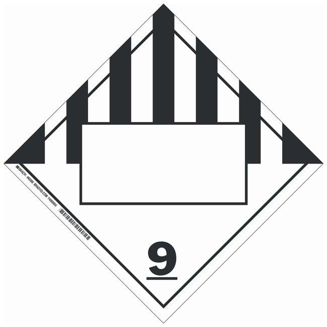 Brady DOT Vehicle Placards: (Misc. Hazardous Materials w/Blank Box) 9:Gloves,