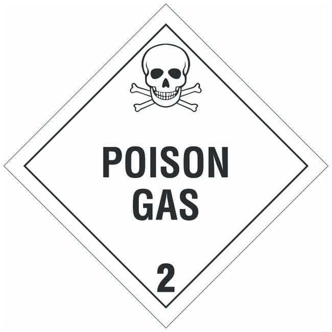 Brady DOT Vehicle Placards: POISON GAS 2:Gloves, Glasses and Safety:Facility
