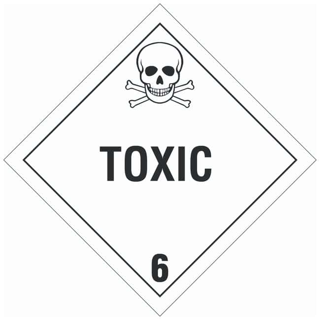 Brady DOT Vehicle Placards: TOXIC 6:Gloves, Glasses and Safety:Facility