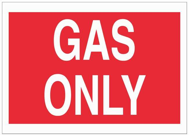 Brady Polyester Caution Sign: GAS ONLY White on red; Cold temperature permanent