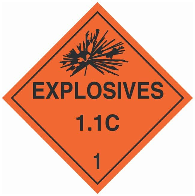 Brady DOT Vehicle Placards: EXPLOSIVE 1.1C:Gloves, Glasses and Safety:Facility