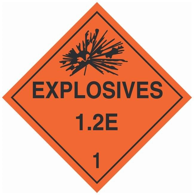 Brady DOT Vehicle Placards: EXPLOSIVE 1.2E Material: Pressure Sensitive