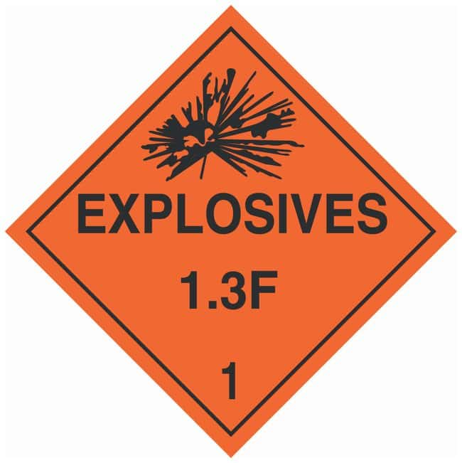 Brady DOT Vehicle Placards: EXPLOSIVE 1.3F Material: Pressure Sensitive