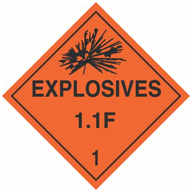 Brady DOT Vehicle Placards: EXPLOSIVE 1.4F:Gloves, Glasses and Safety:Facility