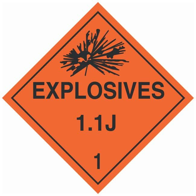 Brady DOT Vehicle Placards: EXPLOSIVE 1.4J:Gloves, Glasses and Safety:Facility