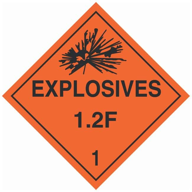 Brady DOT Vehicle Placards: EXPLOSIVE 1.2F:Gloves, Glasses and Safety:Facility