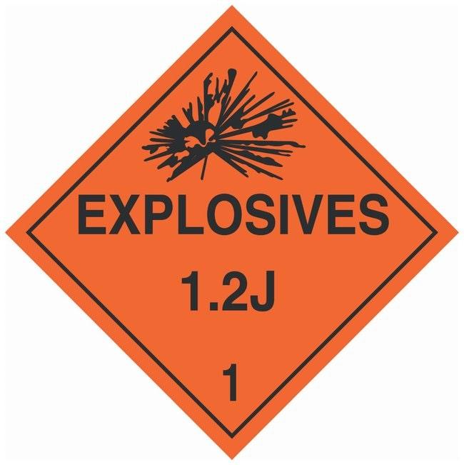 Brady DOT Vehicle Placards: EXPLOSIVE 1.2J:Gloves, Glasses and Safety:Facility