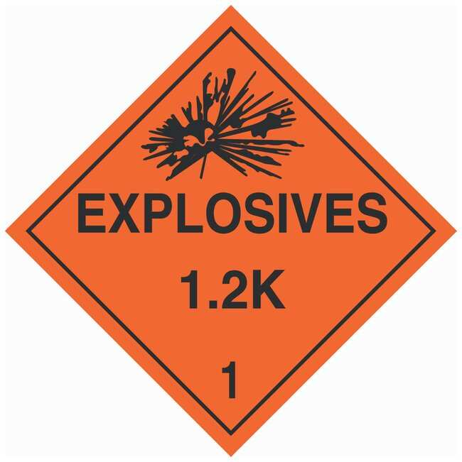 Brady DOT Vehicle Placards: EXPLOSIVE 1.2K:Gloves, Glasses and Safety:Facility