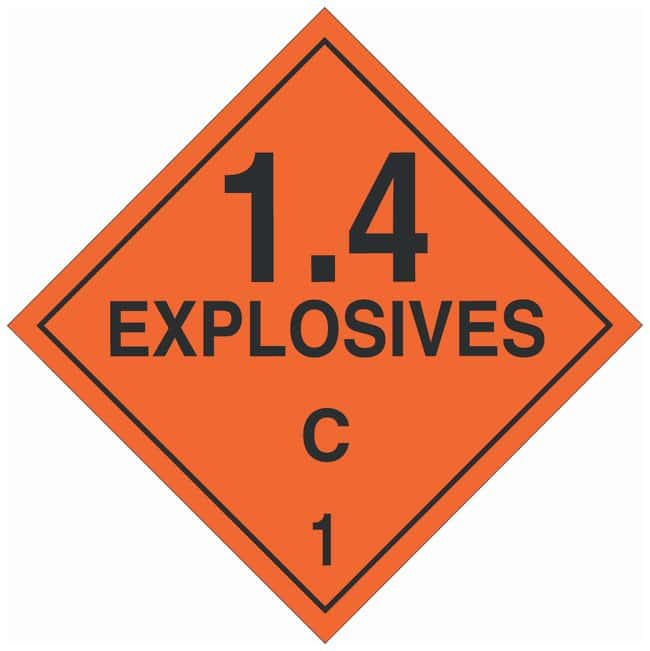 Brady DOT Vehicle Placards: EXPLOSIVE 1.4C:Gloves, Glasses and Safety:Facility