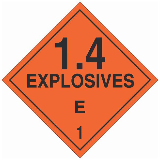 Brady DOT Vehicle Placards: EXPLOSIVE 1.4E Material: Premium Fiberglass