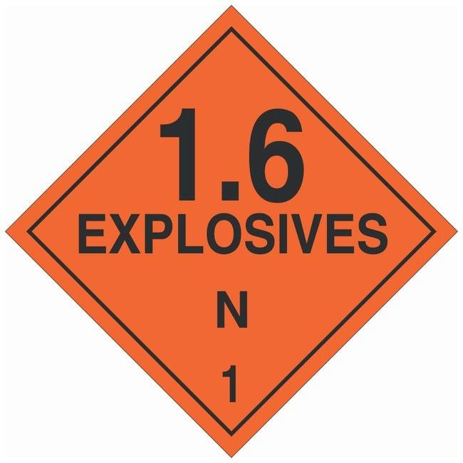 Brady DOT Vehicle Placards: 1.6 EXPLOSIVE N 1 Material: Premium Fiberglass