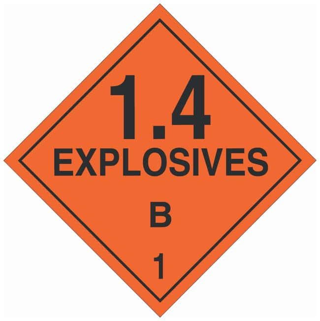 Brady DOT Vehicle Placards: EXPLOSIVE 1.4B Material: Polycoated Tagstock