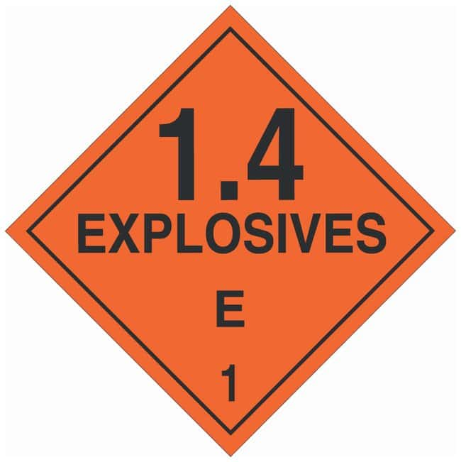 Brady DOT Vehicle Placards: EXPLOSIVE 1.4E Material: Polycoated Tagstock