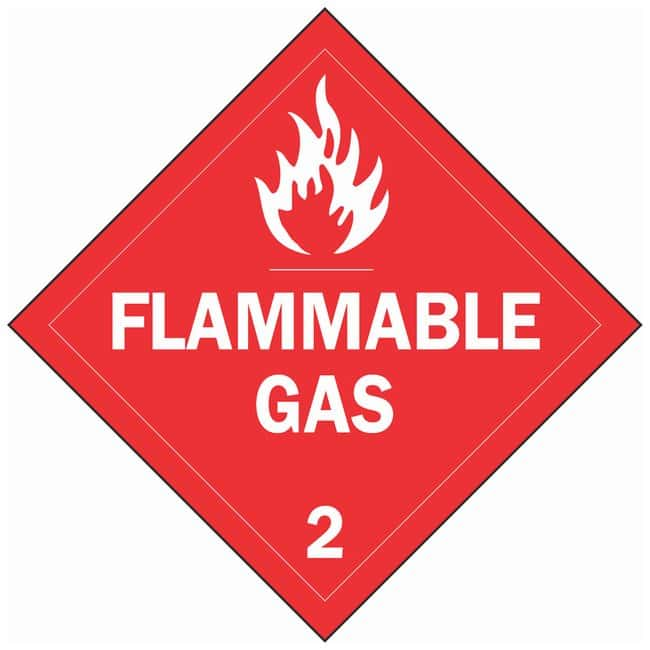Brady Stationary Vehicle Placards, FLAMMABLE GAS 2:Gloves, Glasses and