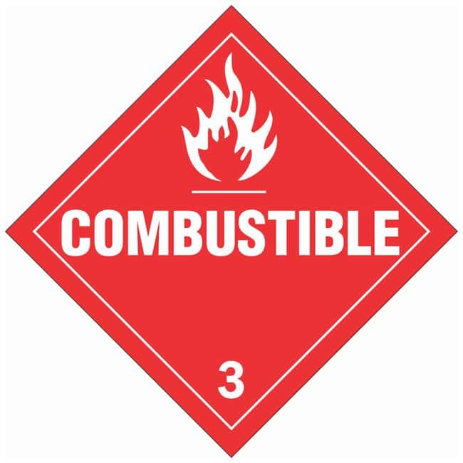 Brady DOT Vehicle Placards: COMBUSTIBLE 3:Gloves, Glasses and Safety:Facility