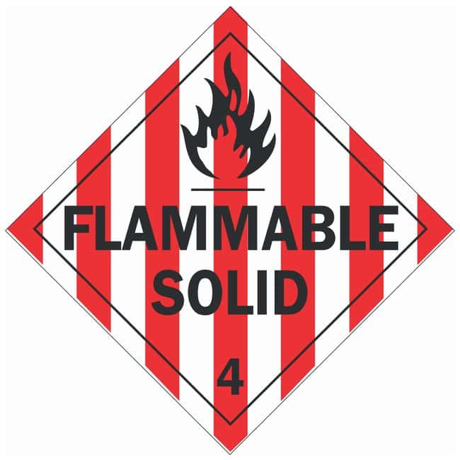 Brady DOT Vehicle Placards: FLAMMABLE SOLID 4:Gloves, Glasses and Safety:Facility