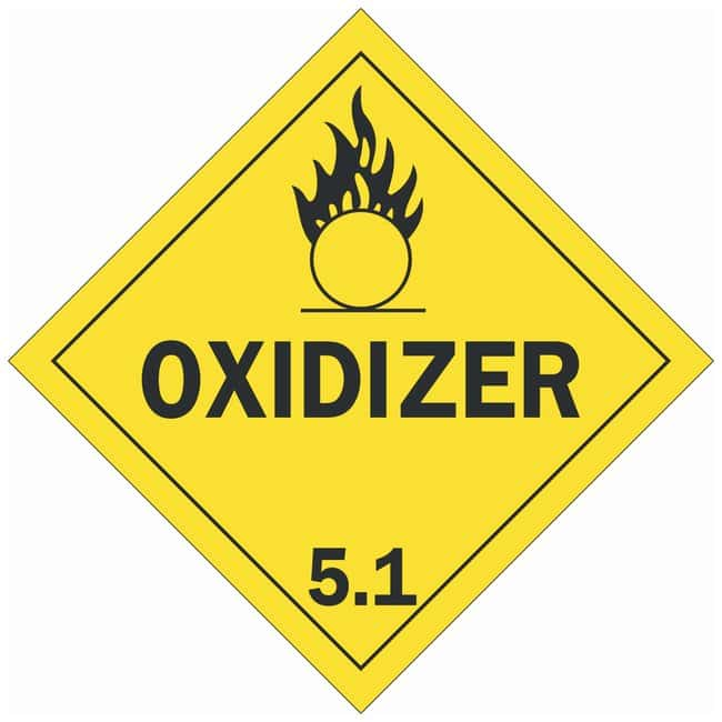 Brady DOT Vehicle Placards: OXIDIZER 5.1 Material: Premium Fiberglass (B-120):Gloves,