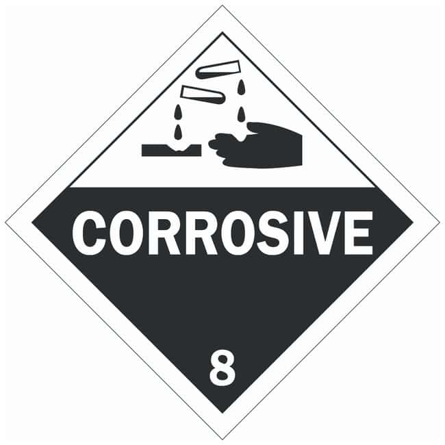 Brady DOT Vehicle Placards: CORROSIVE 8:Gloves, Glasses and Safety:Facility