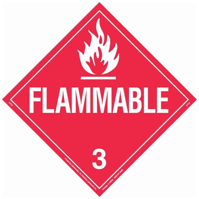 Brady DOT Vehicle Placards: FLAMMABLE 3:Gloves, Glasses and Safety:Facility