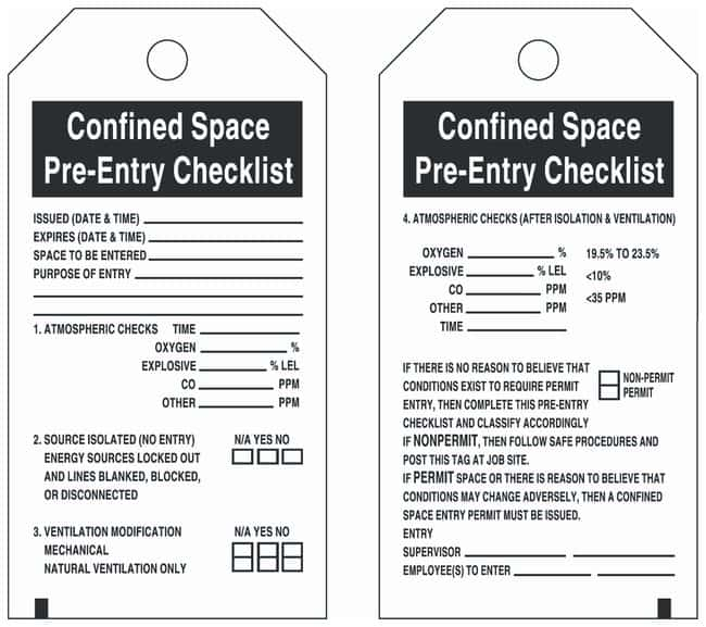 Brady Polyester Tag: Confined Space Pre-Entry Checklist - Gloves, Glasses  and Safety, Facility Maintenance and Safety