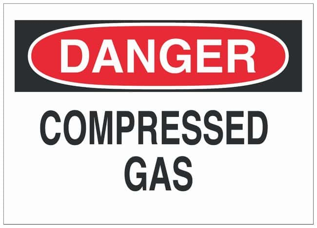 Brady Fiberglass Danger Sign: COMPRESSED GAS Black/red on white; Non-adhesive;