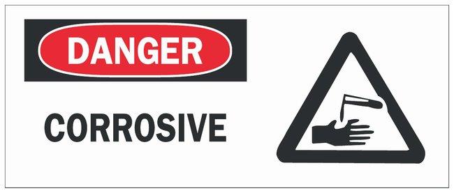 Brady Fiberglass Danger Sign: CORROSIVE Black/red on white; Non-adhesive;