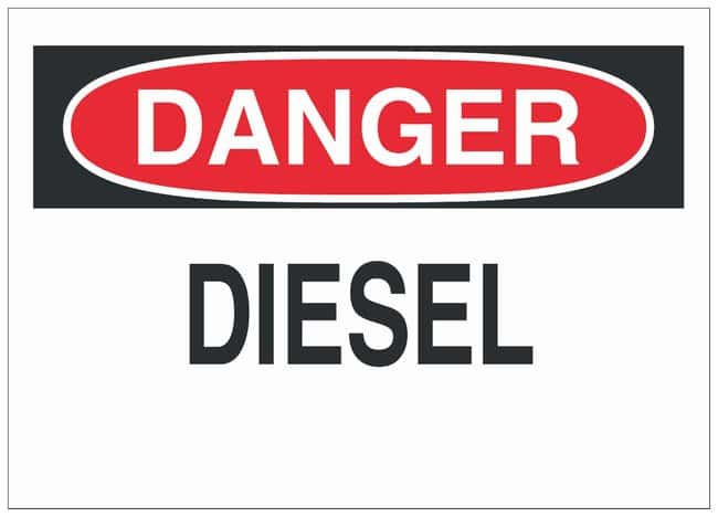 Brady Polyester Danger Sign: DIESEL Black/red on white; Cold temperature