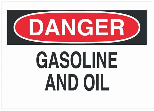 Brady Aluminum Danger Sign: GASOLINE AND OIL Black/red on white; Non-adhesive;
