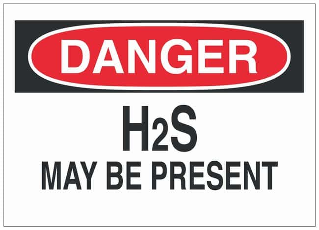 Brady Polyester Danger Sign: H2S MAY BE PRESENT:Gloves, Glasses and Safety:Facility