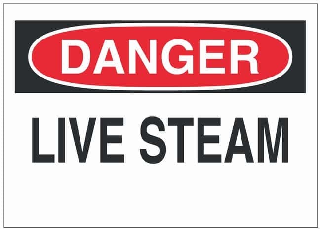 Brady Aluminum Danger Sign: LIVE STEAM Black/red on white; Non-adhesive;